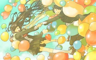 шарики, аниме, арт, парень, девушка, beads, anime, art, guy, girl