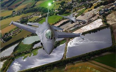 General Dynamics F-16 Fighting Falcon, истребитель, Файтинг Фалкон Ф-16, полёт