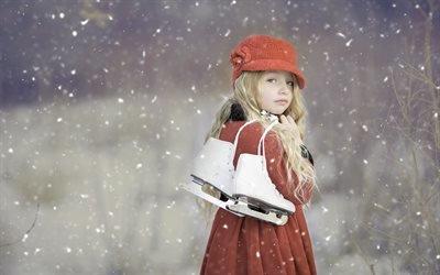 Зима, Снег, Девочка с коньками