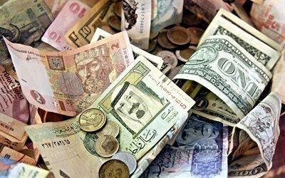 денежные банкноты, деньги мира, купюры, гривны, доллары, евро