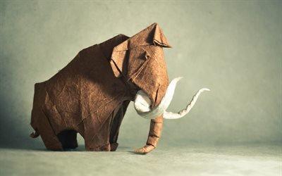 животные из бумаги, мамонт, оригами, бивни