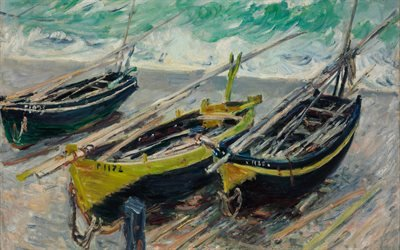 Оскар Клод Моне, Oscar-Claude Monet, французский художник, импрессионист, Три рыбацкие лодки, Three Fishing Boats, 1886, Музей изобразительных искусств, Будапешт