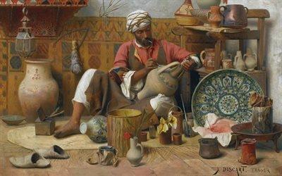 Жан Дискарт, Jean Discart, французский художник, l'atelierde poterie, 1910, гончарная мастерская, холст, масло