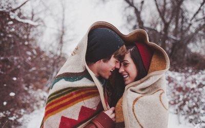 люди, парень, девушка, пара, чувства, объятия, плед, зима