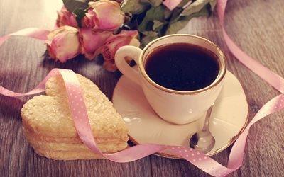 доски, чашка, напиток, печенье, цветы, розы, лента