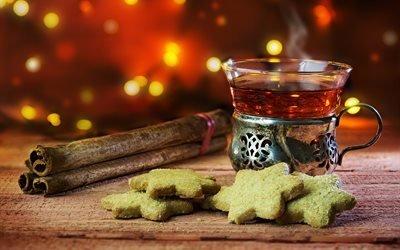 стакан, чай, напиток, печенье, корица, доски, боке