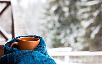 зима, чашка, шарф