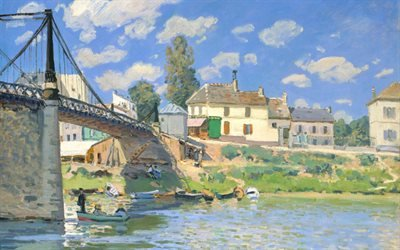 Альфред Сислей, Alfred Sisley, французский художник, Мост в Вильнев-ла-Гарен, The Bridge at Villeneuve-la-Garenne, 1872, музей Метрополитен, Нью-Йорк