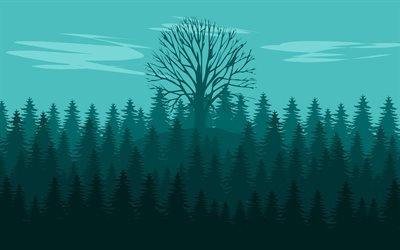 Лес, Дерево, Облака, Минимализм