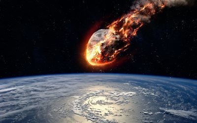 Земля, Космос, Метеорит, Падение
