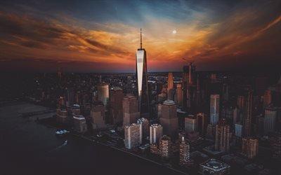 Нью Йорк, Всемирный торговый центр 1, Манхэттен, закат, небоскребы, вечер, высотки, США