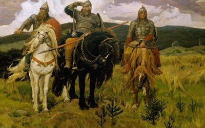 три богатыря, Васнецов, картина, кони, доспехи, оружие, богатыри, три богатирі, Васнєцов, картина, коні, обладунки, зброя, богатирі