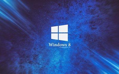Windows 8, Виндоус 8, логотип, синий фон
