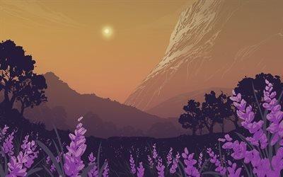 Горы, Лес, Лавандовое поле, Mountains, Forest, Lavender field