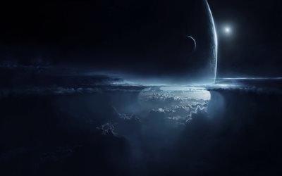 3d, графика, космос, вселенная, планеты, облака
