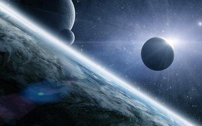 3d, графика, космос, вселенная, планеты, лучи, свет, звёзды
