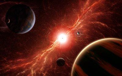 3d, графика, космос, вселенная, планеты, свет, сияние