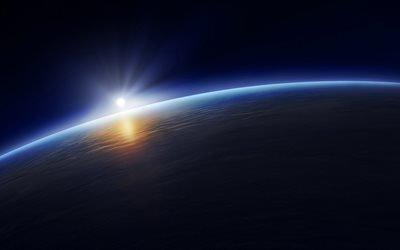 3d, графика, космос, вселенная, планета, солнце, свет, лучи