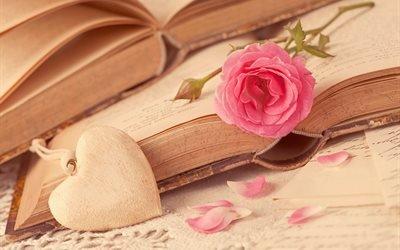 книги, листы, бумага, цветок, роза, лепестки, сердце, сердечко