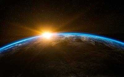 Земля, яркое солнце, 4K, галактика