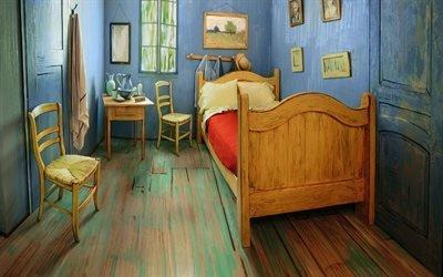 Интерьер спальни в стиле Ван Гога, Кровать, Стулья, Тумбочка