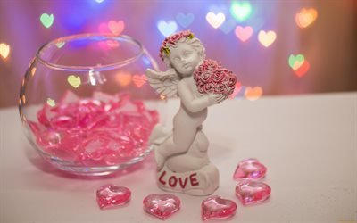 праздник, ваза, сердечки, фигурка, ангел, боке