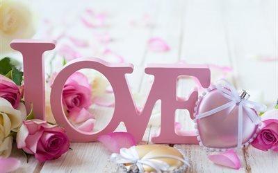 LOVE, праздник, розы, цветы, сердечки, доски