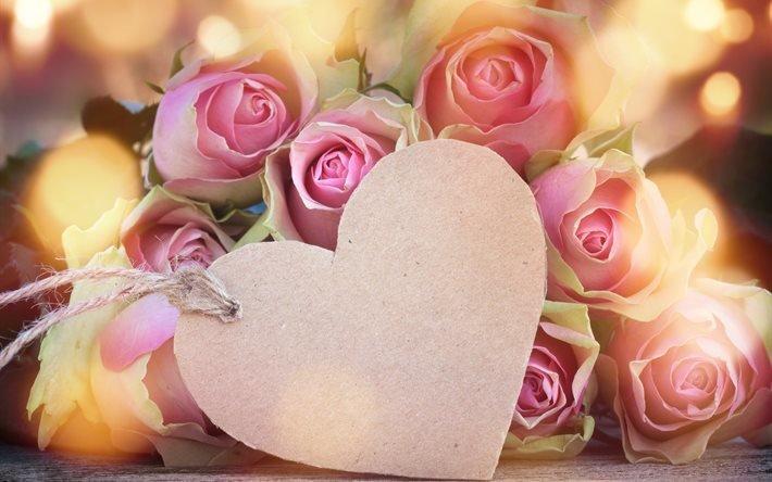 цветы, розы, сердце, боке, праздник