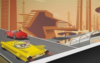 Дорога, Машины, Город будущего
