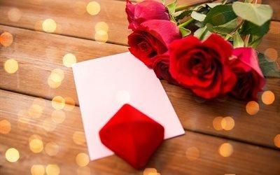цветы, доски, праздник, розы, боке, коробочка, футляр, конверт