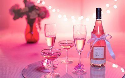 праздник, столик, бокалы, бутылка, вино, ваза, цветы, букет, боке
