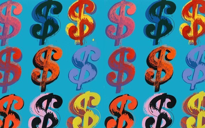 Картина, Живопись, Энди Уорхол, Andy Warhol, Доллар, Dollar