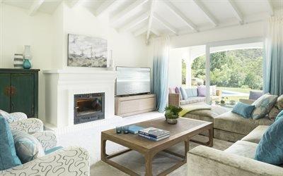 Интерьер гостиной в светлых тонах, Камин, Мягкая мебель, Журнальный столик, Телевизор