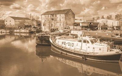 Река, Причал, Катер, Йоркшир