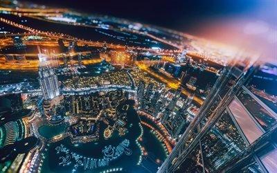 Дубай, ночь, небоскребы, городские огни, ОАЭ, арабская ночь