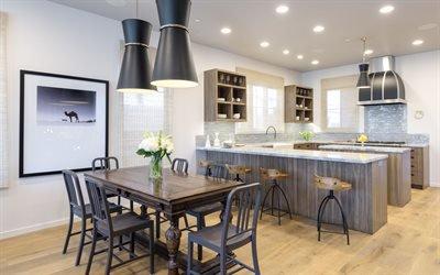Интерьер кухни, Деревянный стол, Кухонная мебель, Барные стулья