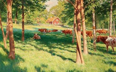 Йохан Кроутен, Johan Krouthen, шведский художник, Swedish painter, 1907, Motiv fran Skedevid i Tjarstad, Пейзаж Скедевида в Тьёрстаде