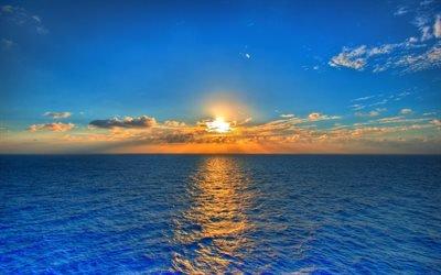 море, вода, небо, облака, солнце, закат, горизонт, отражение