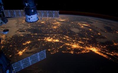 космос, планета, Земля, поверхность, спутник