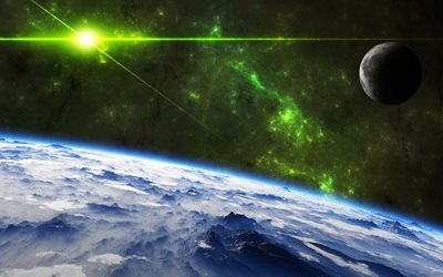 космос, вселенная, планеты, поверхность, рельеф, вспышка, свет