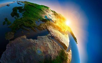 3d, графика, космос, вселенная, планета, земля, поверхность, рельеф, солнце, свет