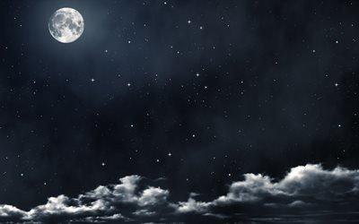 3d, графика, небо, облака, планета, звёзды