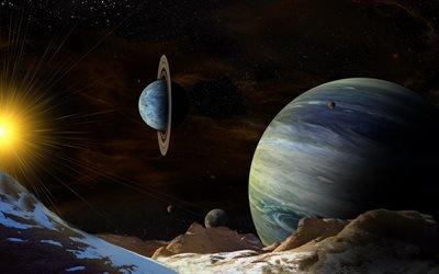 3d, графика, космос, вселенная, планеты, свет, лучи, поверхность, рельеф