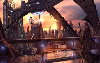 city, город, высотки, high-rise buildings, world of tomorrow, мир будущего, в капюшоне, in the hood