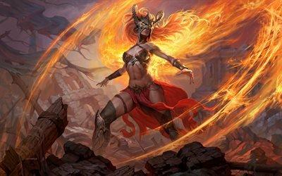 Арт, Фэнтези, Магия, Пламя, Драконы, Девушка