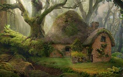 Арт, Фэнтези, Каменный домик в сказочном лесу