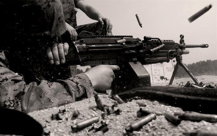 ручной пулемёт, M249 SAW, стрельба, гильзы, FN Minimi
