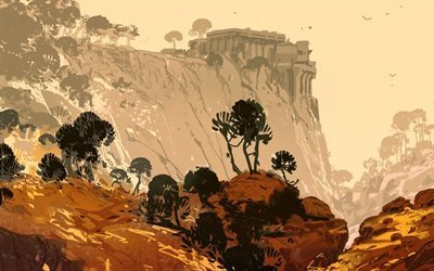 Лес, Скалы, Старая крепость