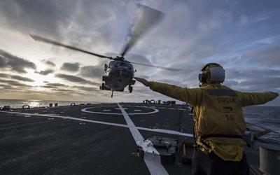 Средиземное море, Эсминец Карни, Си Хок, Палубный многоцелевой вертолёт, Sikorsky SH-60 Seahawk