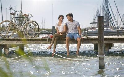 Море, Пристань, Велосипеды, Прогулка